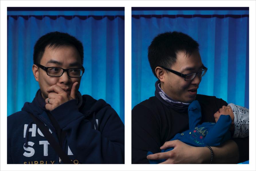 Duas fotos de um homem: primeiro apreensivo e depois feliz e aliviado com o bebê no colo.