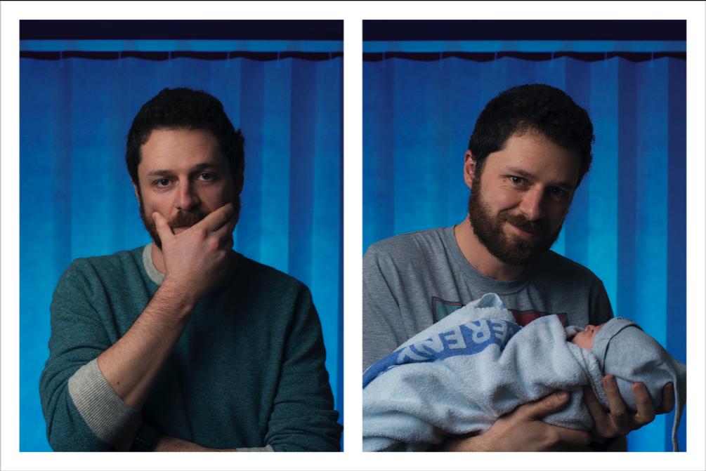 Duas fotos de um homem: primeiro tenso e depois sorrindo aliviado com o bebê no colo.