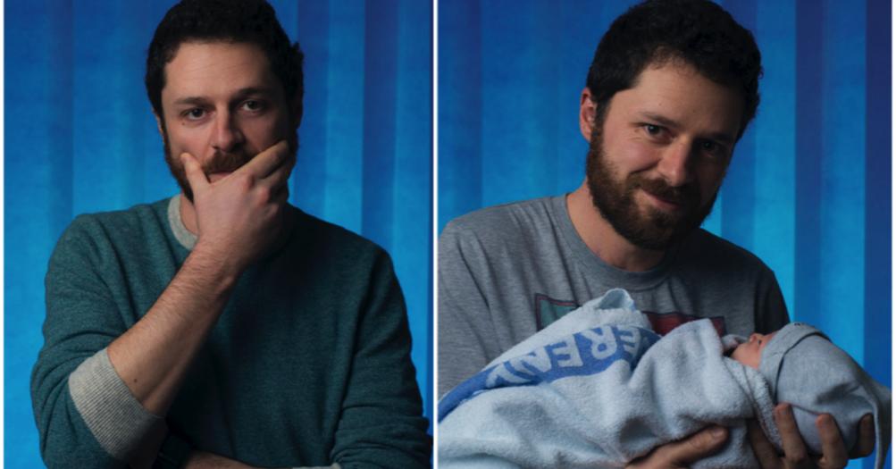 Fotógrafo retrata pais logo antes e depois do nascimento dos seus filhos